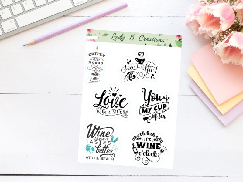 Inspirational Wine Tea And Coffee Quotes Decorative Planner Etsy