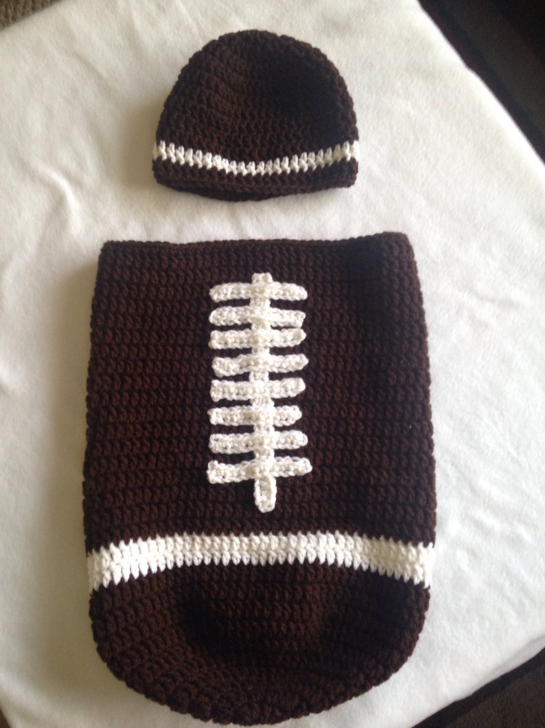 bf91c851a78 Baby Crochet Football Cocoon and Hat Set Baby Football Photo