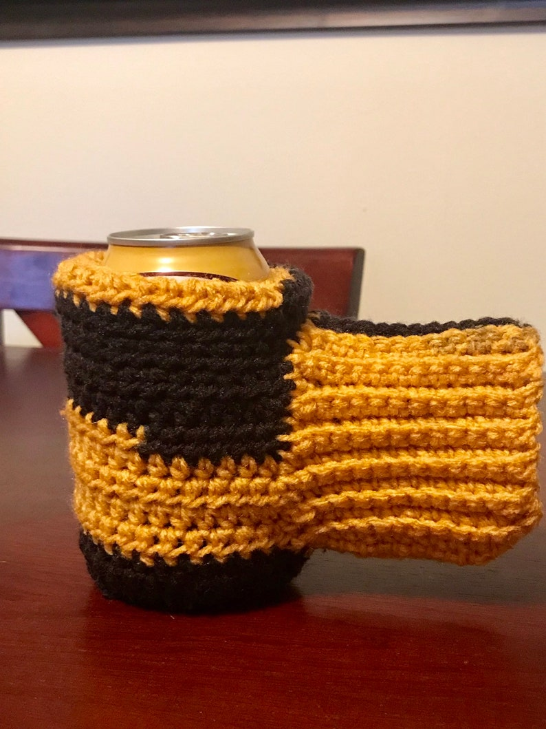a752d273e New Orleans Saints Beer New Can Cozy Beer Mitten-Pittsburgh Steelers Black  and Gold Beer Bottle Can Cozy-Crochet