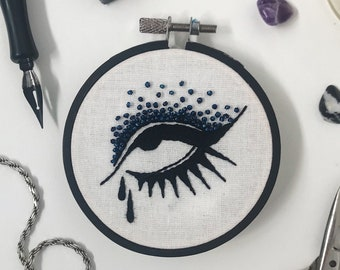 Edie Crying Eye Beaded Embroidery in Hoop