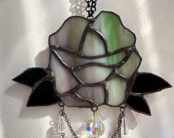 Stained Glass Rose Suncatcher with Crystal