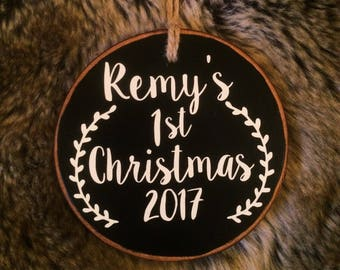 Baby's First Christmas Ornament, Tree Slice Ornament, Rustic Wood Ornament, Personalized Ornament, Black and White Ornament