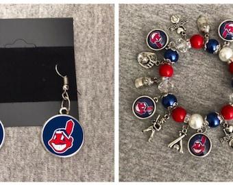 Cleveland Indians Bracelet and Earring set