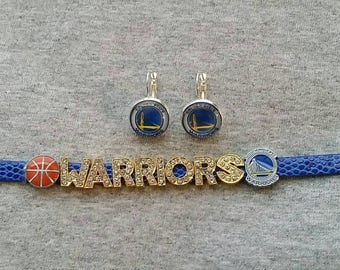 Golden State Warriors earring, bracelet set and free button