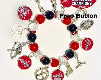 Washington Capitals Champions Bracelet with free button