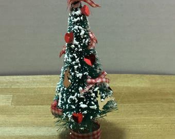 """Dollhouse vintage 4 1/2"""" Christmas tree"""