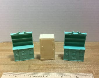 Dollhouse furniture Pyro vintage plastic refrigerator and two hutches