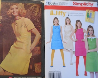 Women's Retro 1960's Shift Dress sewing patterns. Uncut with factory folds. Reprints or Original Patterns sold separately.