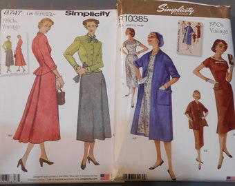 Women's Retro 1950's Dress, coat, jacket, and skirt Patterns. Like new sewing patterns sold separately.