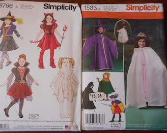 Girls Halloween Costumes. Queen, witch, wizard, devil, more. Like new sewing patterns sold separately.  Size 3-8.