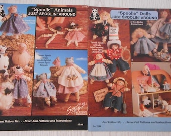 """Wooden """"Spoolie"""" Spool Dolls, Cute Kids or Animals Booklets"""