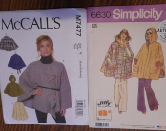 Womens Capes and Ponchos. Like new sewing patterns, Retro Look.  One size patterns sold separately.