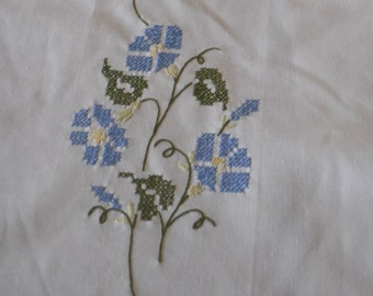 A Set of Two Hand Embroidered guest towels or Doilies - Blue Morning Glories