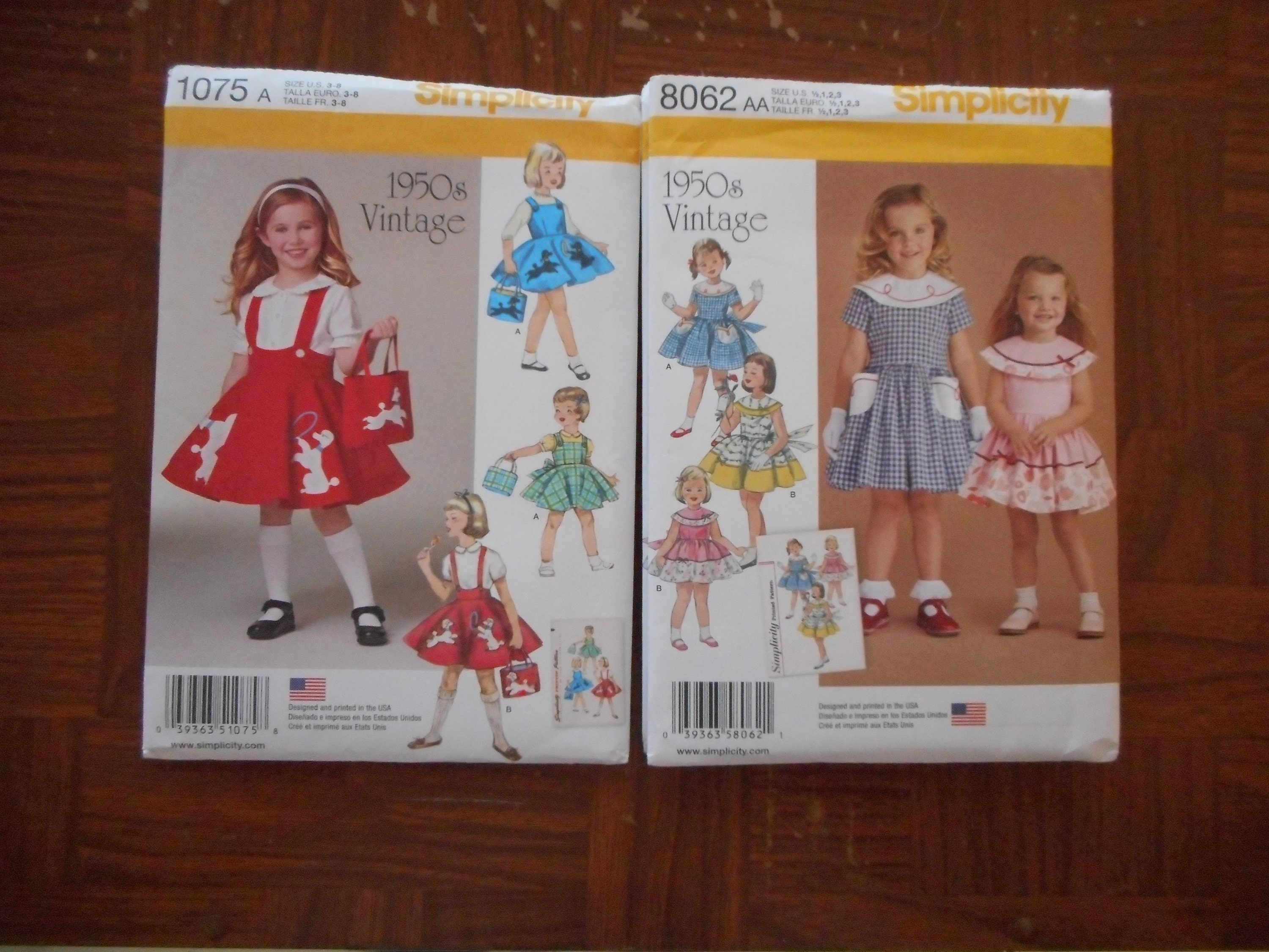 Simplicity Girls Sewing Pattern 1075 Vintage Style 1950s Pinafore Dresses ...