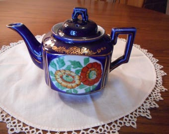 Beautiful Vintage Cobalt Blue Teapot with Poppies