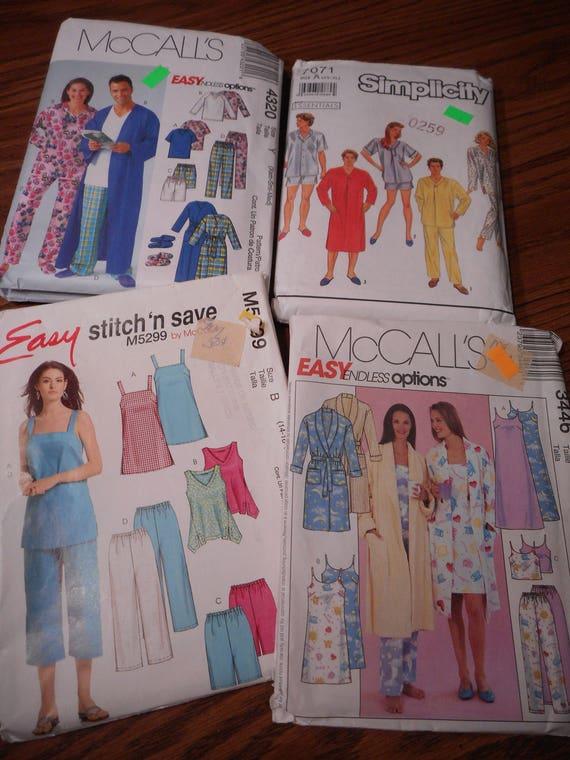 de8b277cb Sleepwear Patterns men and women s NOS Several sizes