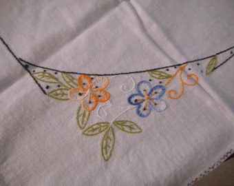 Vintage Hand Embroidered Table Topper with flowers and scrolls- Almost New
