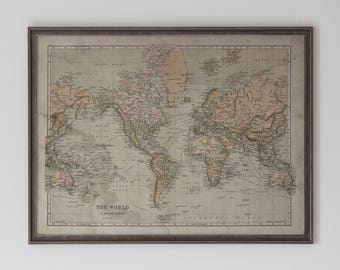 World map framed hardwood distressed black and gold world map etsy world map hardwood distressed black and silver world map a mercators projection map circa 18th c gumiabroncs Gallery