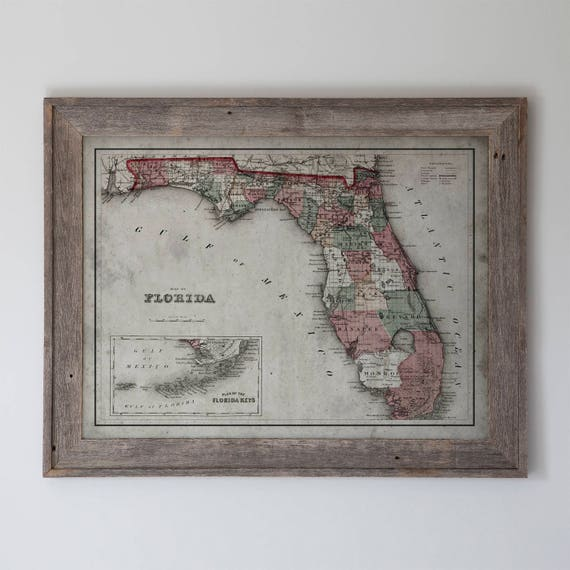 Florida Framed Reclaimed Barnwood Vintage Map Of Florida And