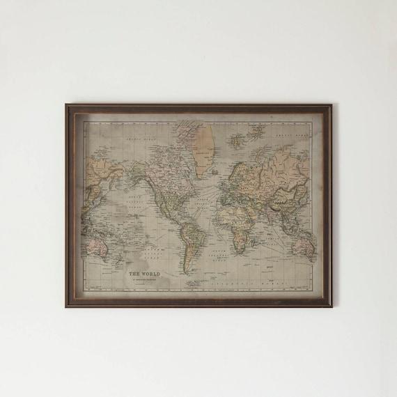 World map framed hardwood distressed black and gold world map etsy image 0 gumiabroncs Gallery