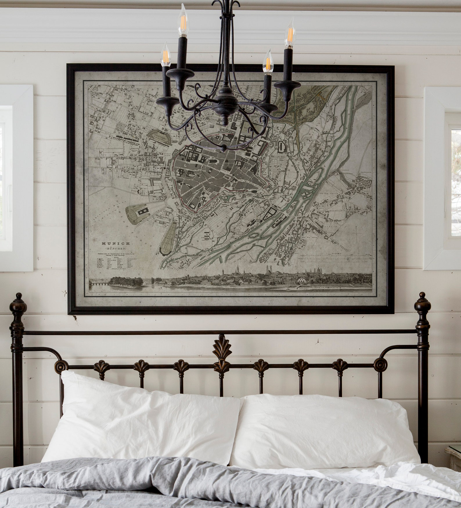 Munich Map | Vintage Map of Munich, Germany | Vintage Wall Art | Home Decor | Framed Options Available | Circa 19th C.