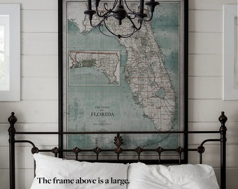 Florida Map   Vintage Map of Florida State    Vintage Wall Art   Home Decor   Framed Options Available   Circa 20th C.