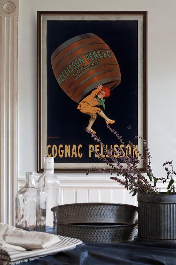 Vintage Alcoholic drink advertising poster reproduction. Cognac Pellison