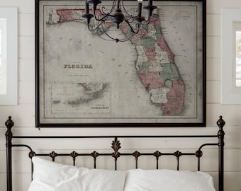 Florida Map   Vintage Map of Florida and The Keys   Vintage Wall Art   Home Art Inspiration   Framed Options Available   Circa 19th C.