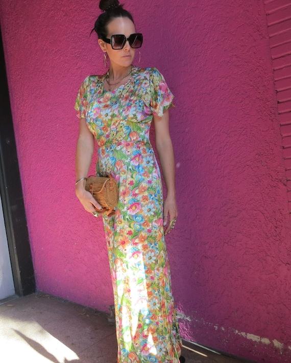 Long floral 40's dress