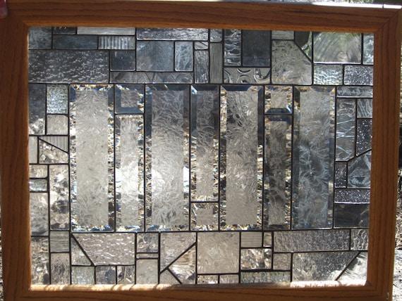 Stained Glass Window Framed In Oak Glue Chip Bevels 2125 T X 2725 W
