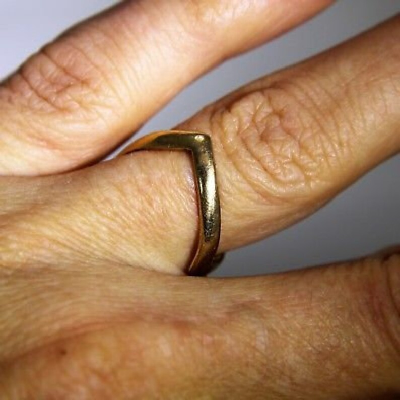 Vintage Double Wishbone 9ct Yellow Gold Band Ring size L ~ US 5 34