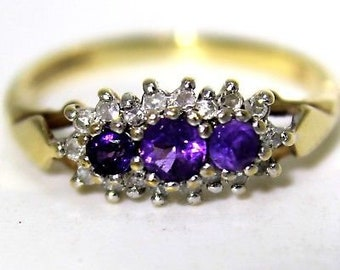 Pretty Amethyst & 0.10ct Diamond Trilogy Cluster 9ct Yellow Gold ring i ~ 4 1/2