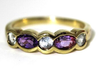 Chunky Amethyst & Topaz 9ct Yellow Gold Ring size L  ~ 5 3/4