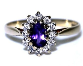 Pretty Amethyst & CZ 9ct Yellow Gold Cluster ring size M ~ 6 1/4