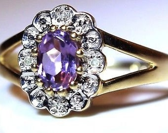 Pretty Amethyst & Diamond 9ct Yellow Gold Cluster ring size M ~ 6 1/4