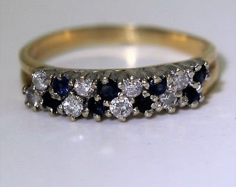 Stunning Sapphire & 0.33ct Diamond 18ct Yellow Gold Ring size S 1/2 ~ 9 1/2