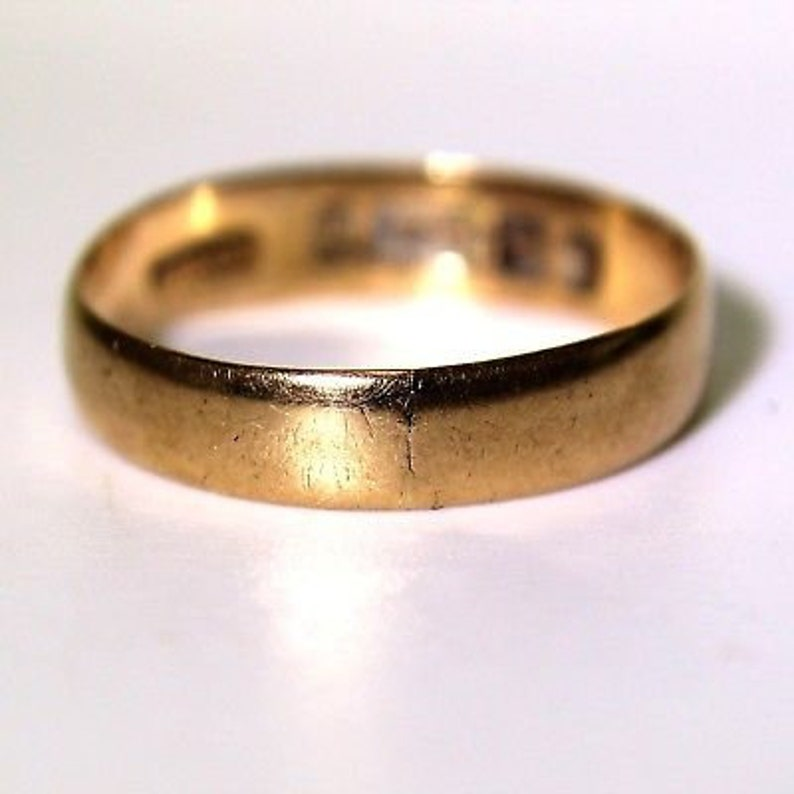 Charming 1915 9ct Rose Gold 4mm Wide Wedding Band Ring M ~ 6 14