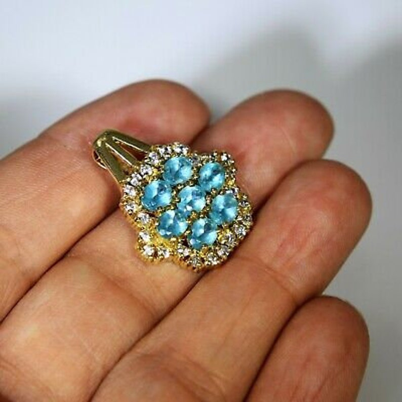Heavy Blue Apatite and White Topaz Cluster 9ct Yellow Gold Pendant