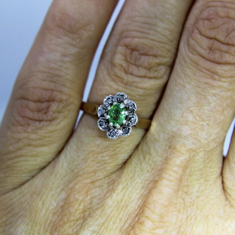 Verdilite Tourmaline /& Diamond 9ct Yellow Gold Oval Cluster Ring size L 12  ~ 6