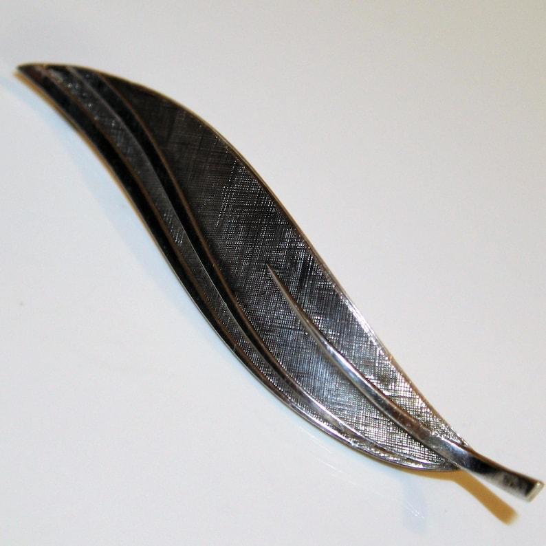 Modernist Sterling Silver Textured Leaf Brooch 925