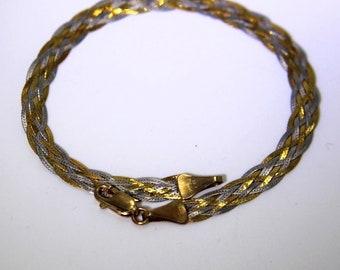 Pretty Woven Plaited 9ct Yellow & White Gold 7 1/4 Bracelet