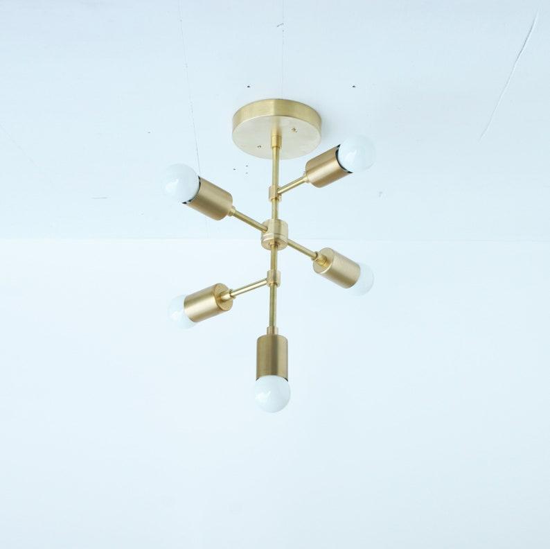 Modern chandelier Mid Century Chandelier 6-arms Solid Brass chandelier