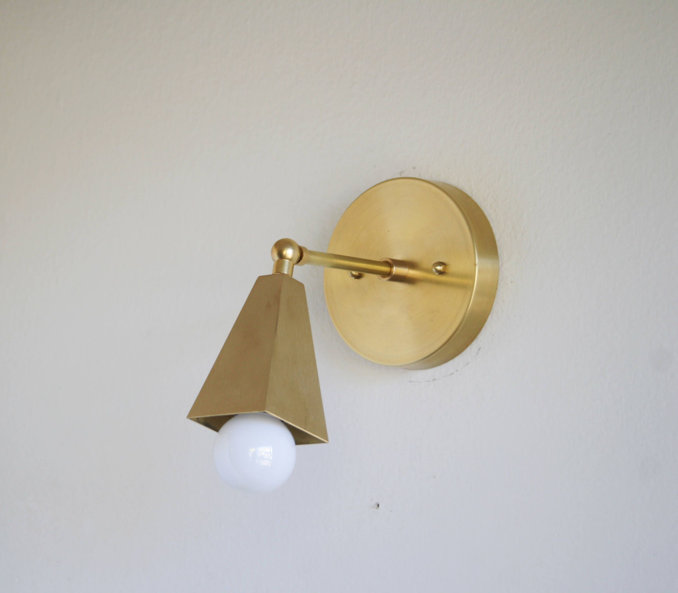 Image of: Solid Brass Adjustable Wall Sconce Light Mid Century Etsy