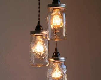 3 ball brand quart size wide mouth mason jar pendant light
