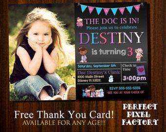 Doc McStuffins invitation, Photo, Doc McStuffins Birthday, Disney Junior, Doc McStuffins Party, Doc McStufins invite, Birthday invitations