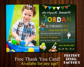 Goofy Invitation, Goofy photo invitation, Goofy Birthday Party, Mickey Mouse Clubhouse, Goof, Disney Invitation, Goofy Birthday, Disney