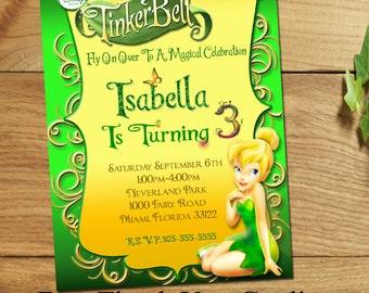 Tinkerbell Invitation,Tinkerbell Birthday invitation,Tinkerbell party invitation, Disney Fairies Invitation,Invitation,Disney Invitation,