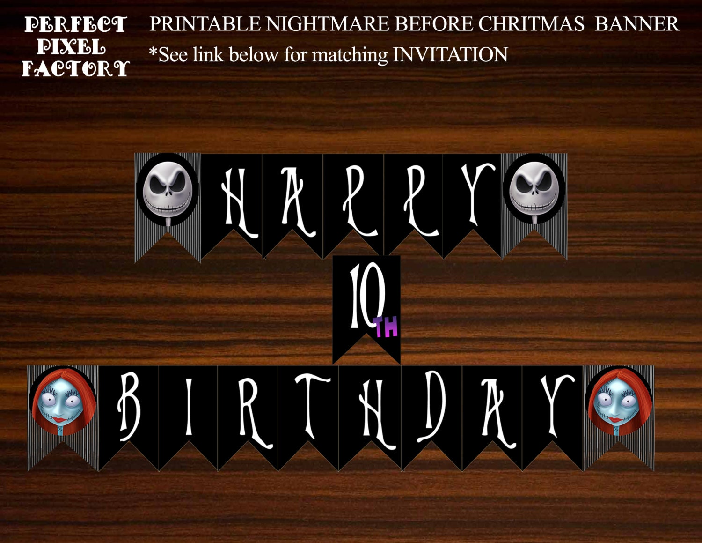 Nightmare Before Christmas Banner Birthday Banner Jack