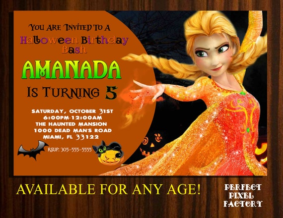 Frozen Invitation Halloween Disney Elsa Birthday