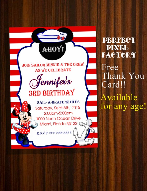 MINNIE MOUSE NAUTICAL Birthday InvitationNautical PartyMinnie MouseDisney InvtiationMickey PrintablePartyPerfectPixelFactory